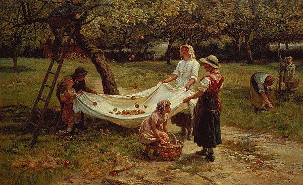 The Apple Gatherers ~  Frederick Morgan (1880)