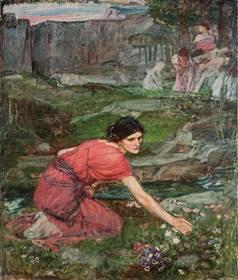 Un estudio: Doncellas recogiendo flores por un arroyo ~  John William Waterhouse