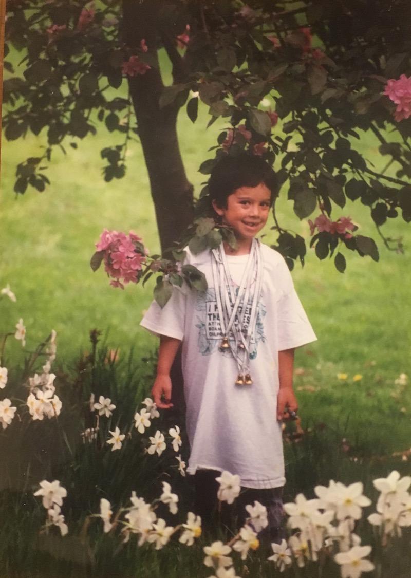 "Me circa 1992, NYC. Shirt says ""I hugged the trees."""