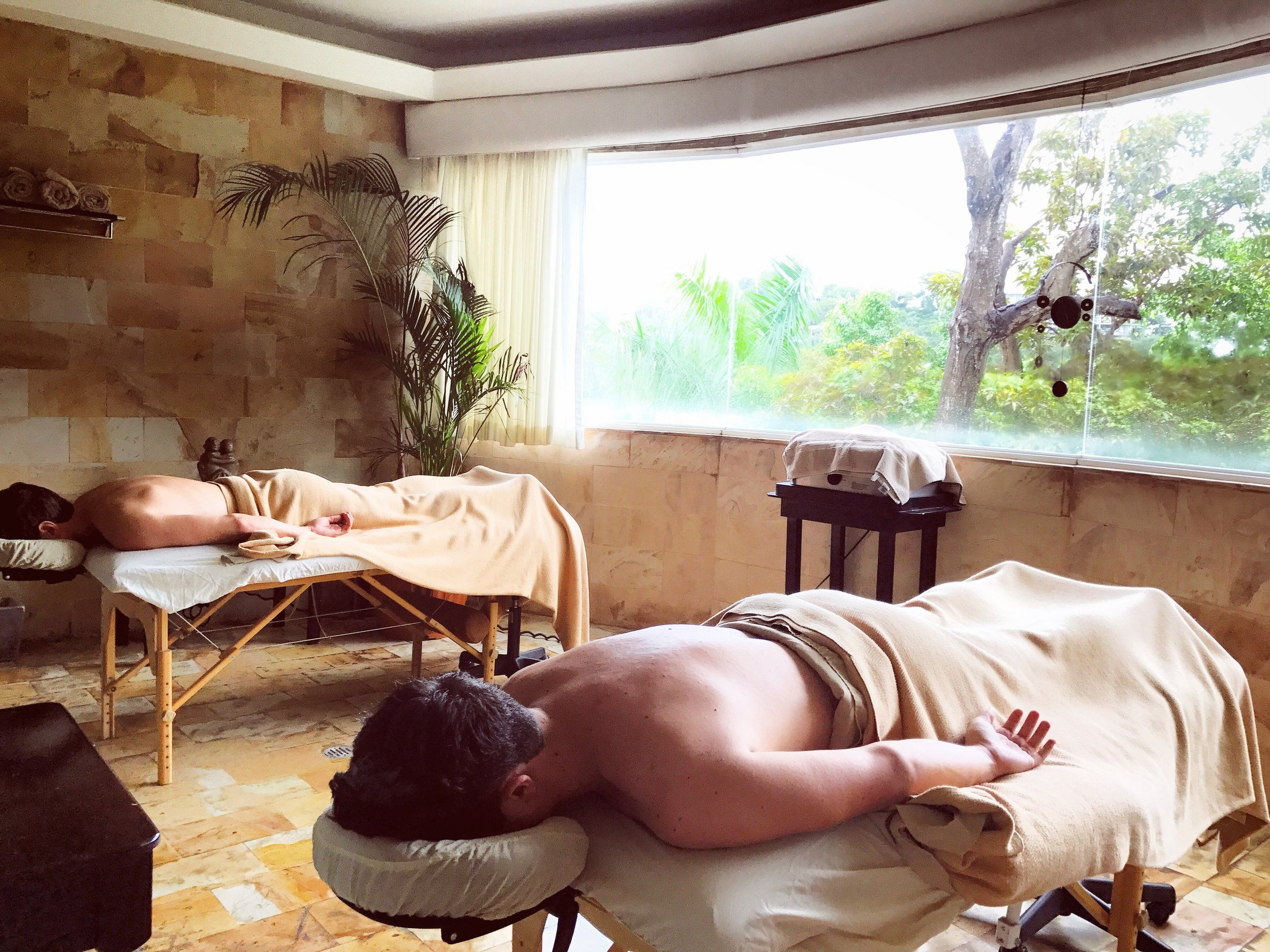 Enjoying a wonderful couple's massage at the Spa
