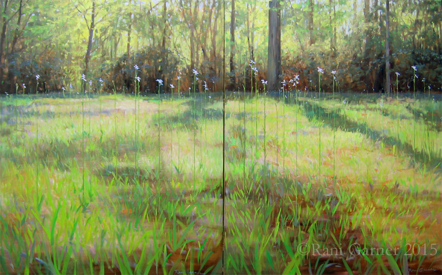 Leaves of Grass III diptych 60x96 oil $9500