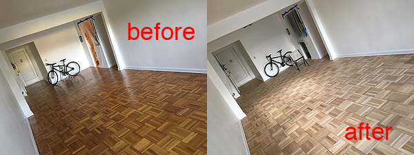 Here, you can see the before and after photos of the the sanded floors. I started sanding the floors myself and violated a co-op rule; I cannot do constructions on the weekend (i.e. sanding floors). The Property Manager shut down my power because with all the noise from sanding, I could not hear him ringing the doorbell a thousand times! That was actually a great excuse for me to hire someone or a team to sand my floors! I was super exhausted and that afternoon, I called a flooring company and scheduled for the team to come in to sand my floors. They did that in 6 hours and it looks GREAT! I'm so happy!  So the follow on story, that Tuesday, when the flooring team was doing their thing, I had everything in my kitchen! Yes, I had my bike, my air bed, my work chair and my laptop working in the kitchen. What an interesting experience. I actually took some work calls out in the hallway, I was still able to use my wifi from the hallway. It was kinda like being in college. The good thing was that I met some of my neighbors as they went on their way. Not a bad strategy to meet your neighbors I guess.