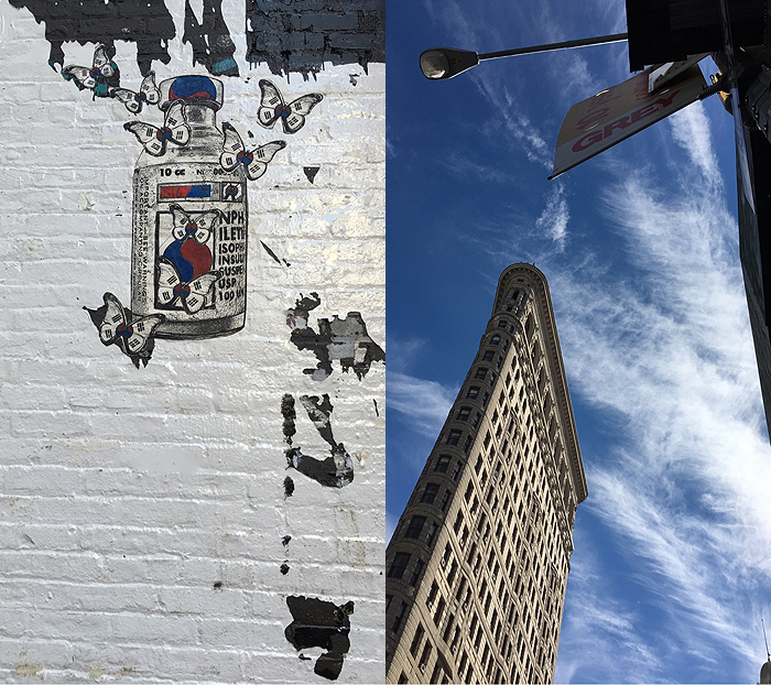 Here's a fun photo, on the left, you have a random street art piece. It references the Korean flag, but I don't think this was near K-Town (Korea Town). On the right, you have the Flat Iron building. It does look pretty flat and I can see the iron feel. :)