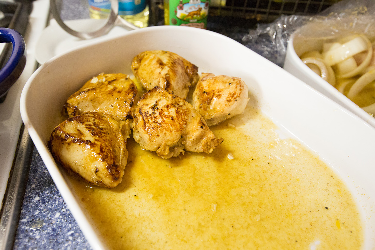 The browned breasts ready for the oven
