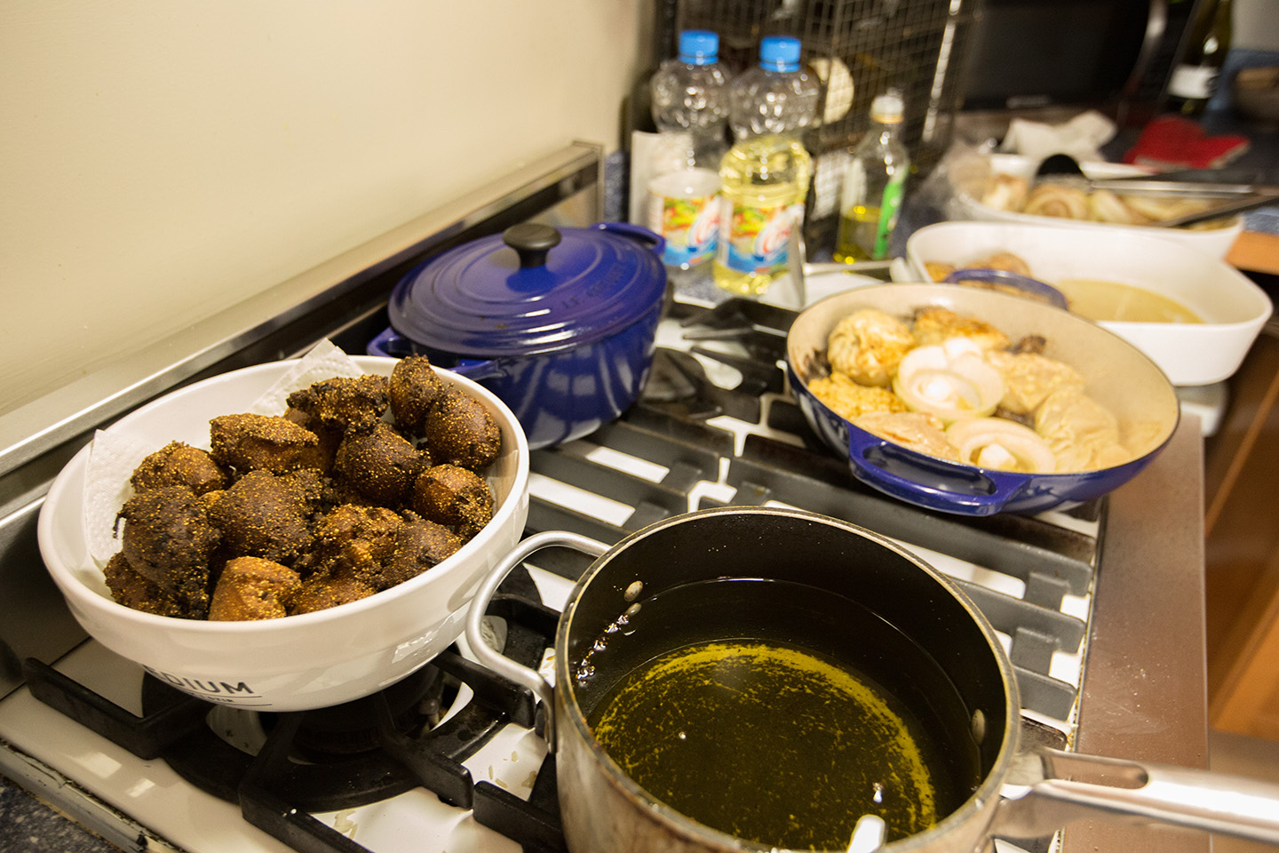 Hush Puppies and Cuban Chicken on the stove