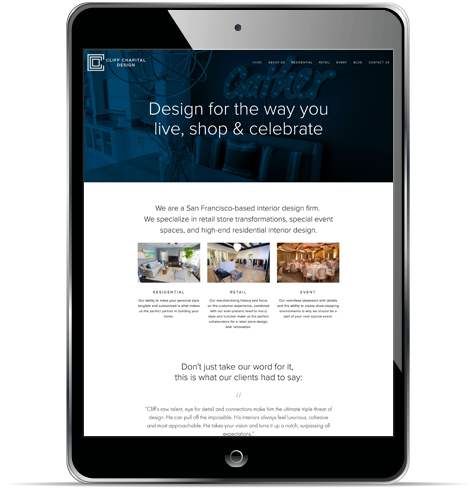 Home page on an iPad.