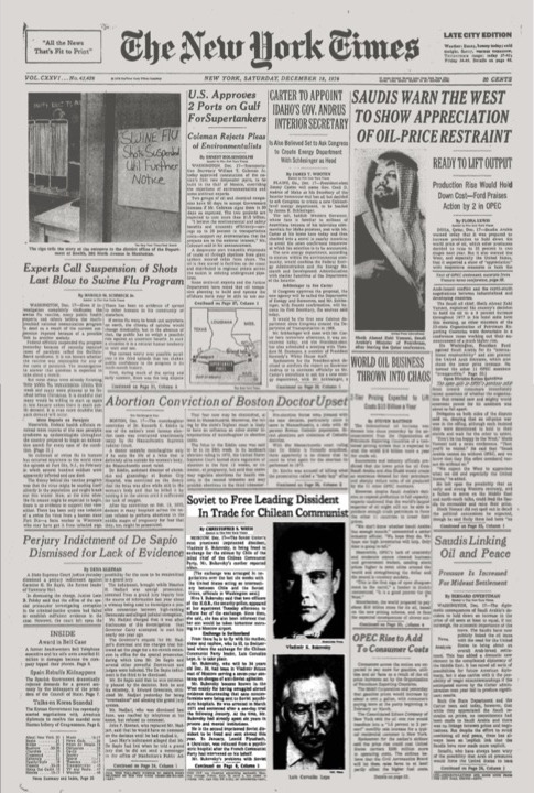 Front page of The New York Times, December 18, 1976