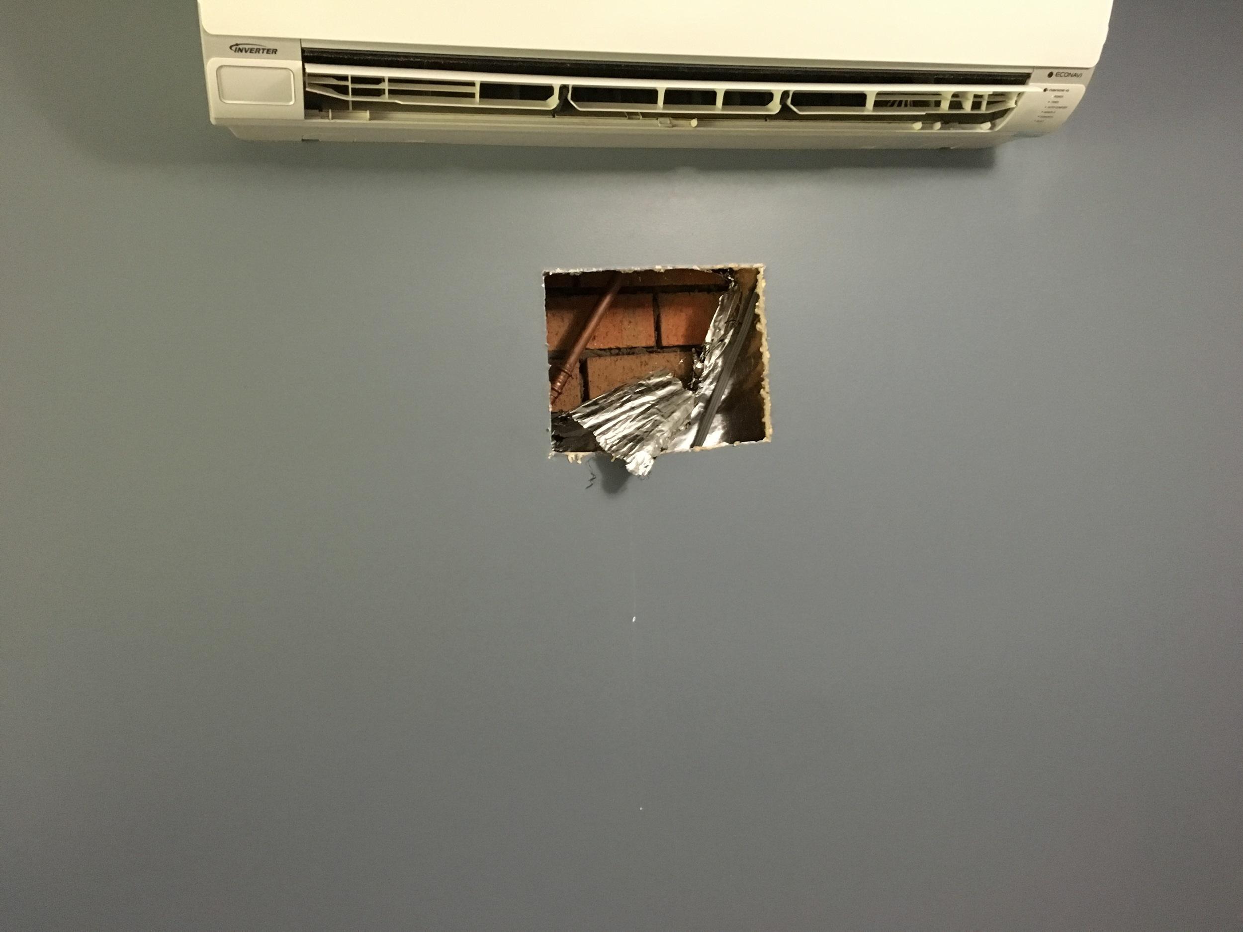 Cavity wall damage cut away