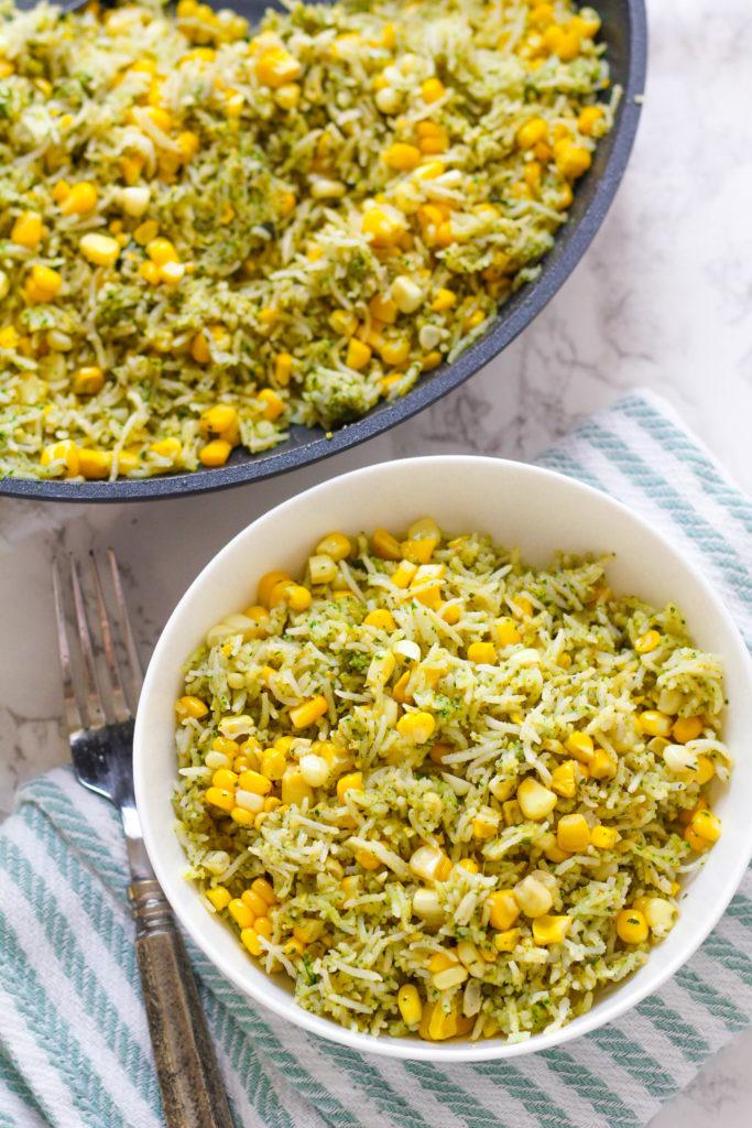 Basil Pesto and Roasted Corn Rice