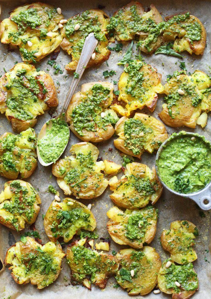 Smashed Potatoes with Pesto