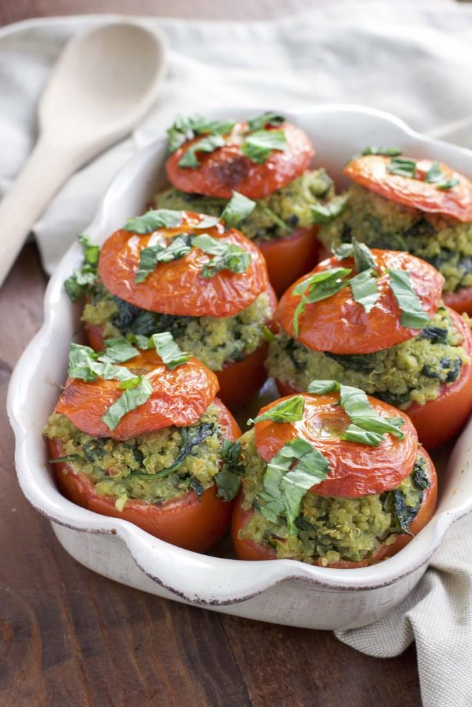 Pesto Spinach Quinoa Stuffed Tomatoes