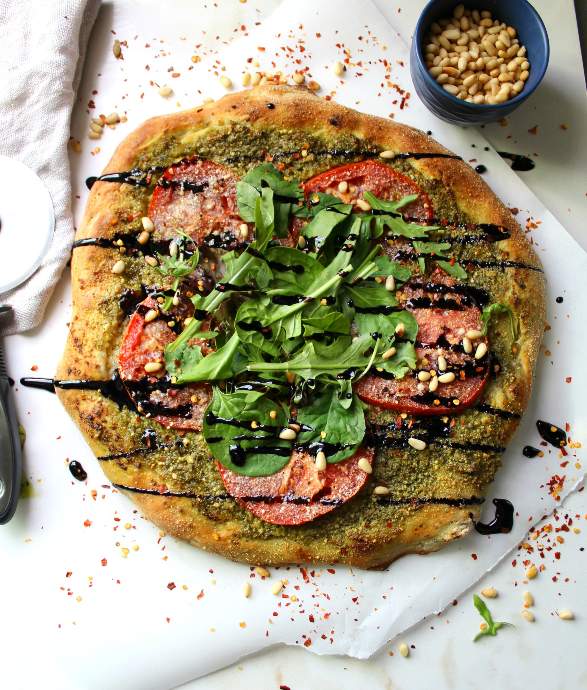 Pesto Pizza with Balsamic Glaze