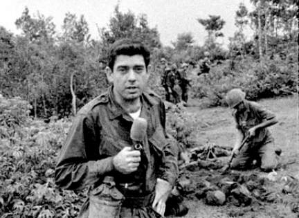 A young Dan Rather, CBS News, honing his field reporting skills.