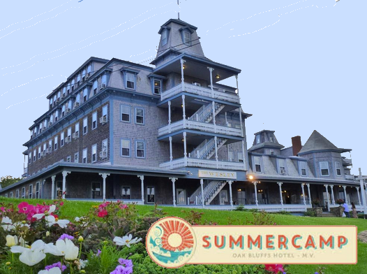 "SUMMERCAMP--(OAK BLUFF) (508) 693-6611     CLICK HERE    for reservations or call for room rates ...(Mention ""Martha's Vineyard Marathon"")   Be a kid again at this whimsically renovated  Martha's Vineyard hotel.  Formerly the Wesley Hotel, this new incarnation is designed as a nod to Oak Bluffs' history as a summer ""camp"" destination for the Methodist Church.  Oak Bluffs Bus Shuttle to start: .25 miles Finish: .25 miles"