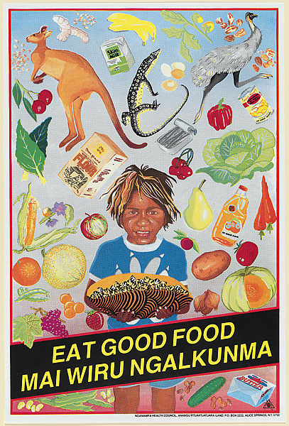 Leonie Lane & Peter Curtis with Redback Graphix,   Eat Good Food,  1987, Screenprint