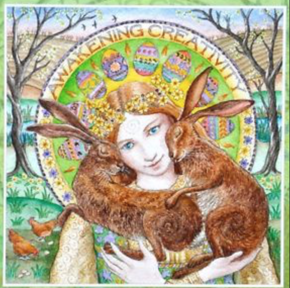 """Ostara, the ancient Germanic Goddess of Rebirth and Renewal, is our modern-day maid of springtime and the namesake of the Easter holiday. With her iconic rabbit and colorful eggs, Ostara heralds the rebirth of the Earth and her creatures, inviting us to reflect upon our own personal experience of renewal. Pushing through the growing pains of evolution can sometimes feel daunting, but when we allow ourselves to embody the wild wisdom of Ostara, we connect with a deep source of spiritual potential.  """"It is spring, and this year, as in all years that have come before, you are reborn, inspire to nurture and cultivate your medicine. Each turn of the wheel is another cycle to practice, to learn, to grow, and to wisely shed what no longer serves you so that your precious resources serve only your highest good.   """"And now, beautiful spirit, flame of creation, I invite you to reawaken. Hear me now, my beloved, as I sing the song of your medicine. Hear my blessing upon your body and spirit as I beckon you to to push through…though your fear and your doubt may weigh heavily upon you, you can push through to the light…you can push through to the beauty of renewal, as you birth yourself into the fullness of your being once more. """"  Wild & Wise, Sacred Feminine Meditations for Women's Circles & Personal Awakening by Amy Bammel Wilding"""