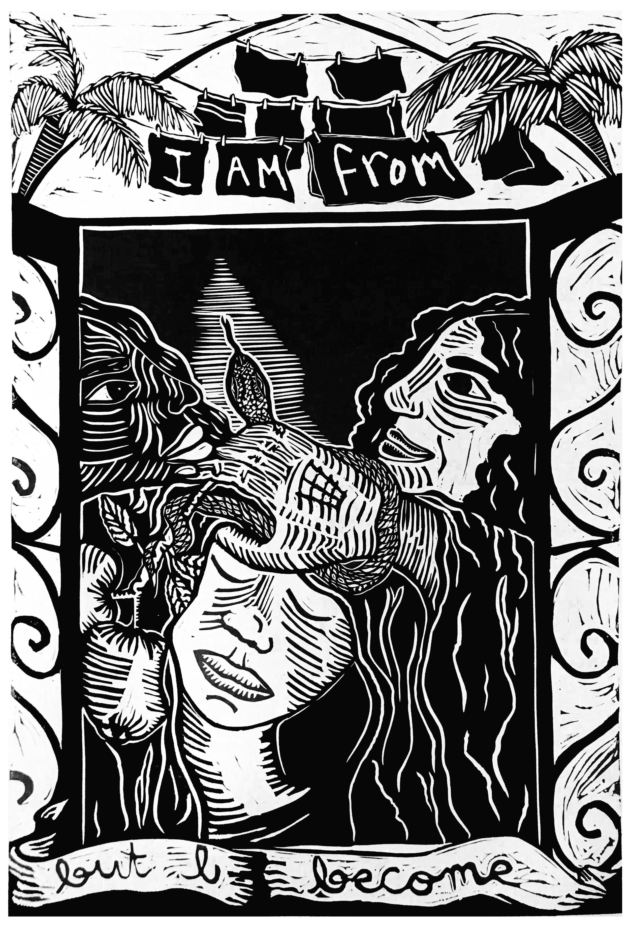 Unveiling o Renacimiento , Paola de la Calle, Relief linocut print