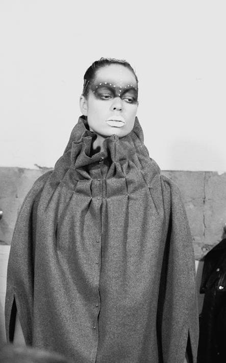 BRUTALIST #5.0 - COCOON (reversible) : merino wool felt l bonded thread l stainless steel studs : : : : : : : : : : : : : : photography : Suzanne Phoenixl model : Camille Parker