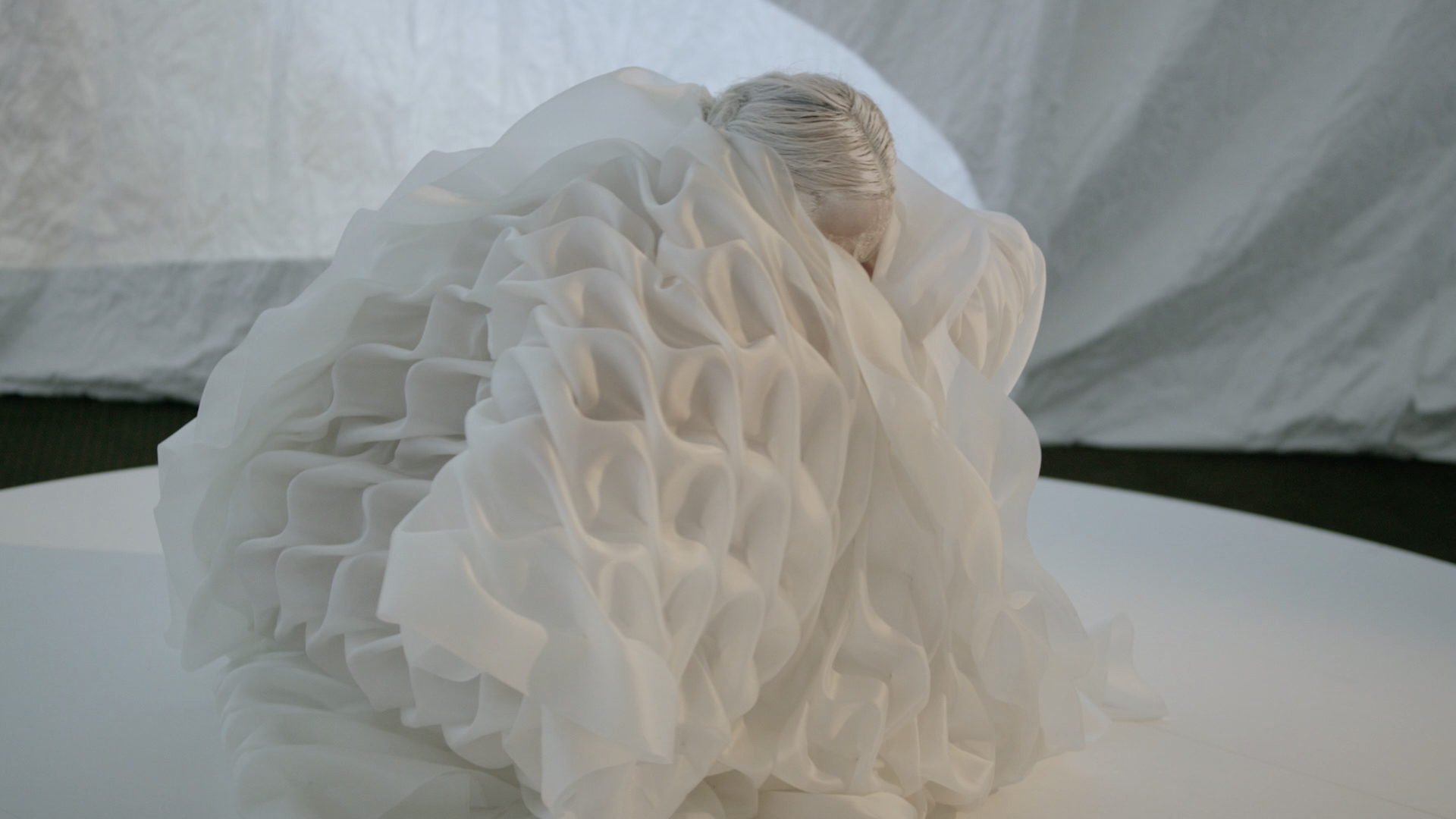 OBAKE - live art installation - Creative Collective Group exhibition M/FW 2017  silk; bonded thread  inhabitable sculpture Anastasia La Fey ; performer/ inhabitant LARVAE collaborator Benjamin Hancock