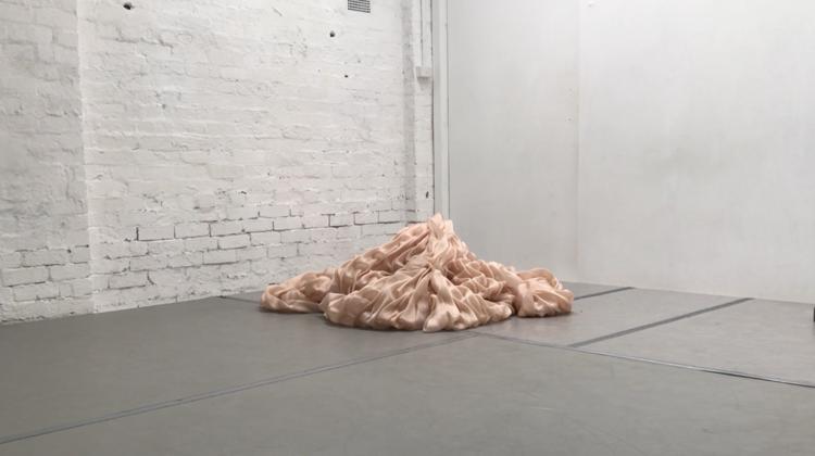 MUTAFORMA   (ABOVE) - iteration #1 - (uninhabited)  (BELOW) iteration #2 (inhabited)  documentation of 2019 development : experimentation : performer/ inhabitant LARVAE collaborator, Samuel Harnett-Welk  : avocado-pit dyed silk; bonded thread