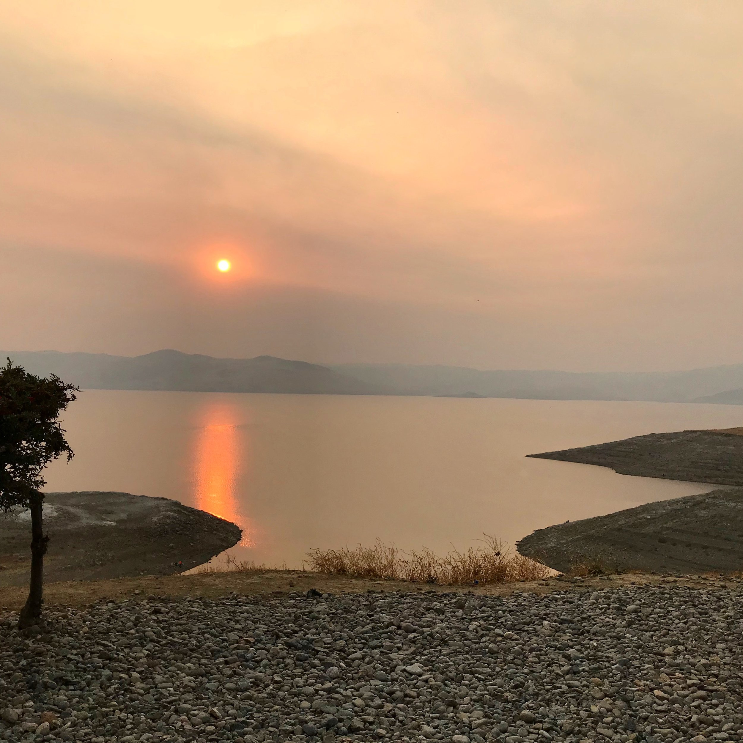 Sunset over the San Luis Reservoir, the fifth largest reservoir in the state.