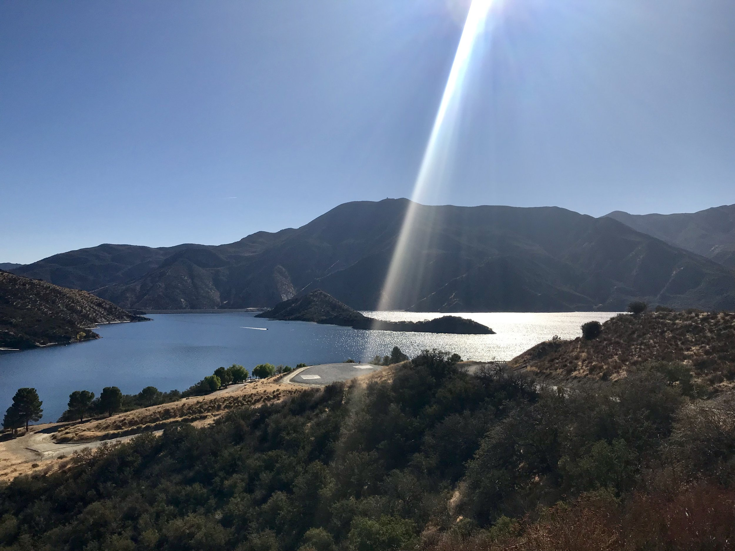 Pyramid Lake Reservoir, completed in 1973, is the deepest lake in the state. Here, water is held and conveyed to Castaic Lake Reservoir and from there supplies northwestern Los Angeles County.