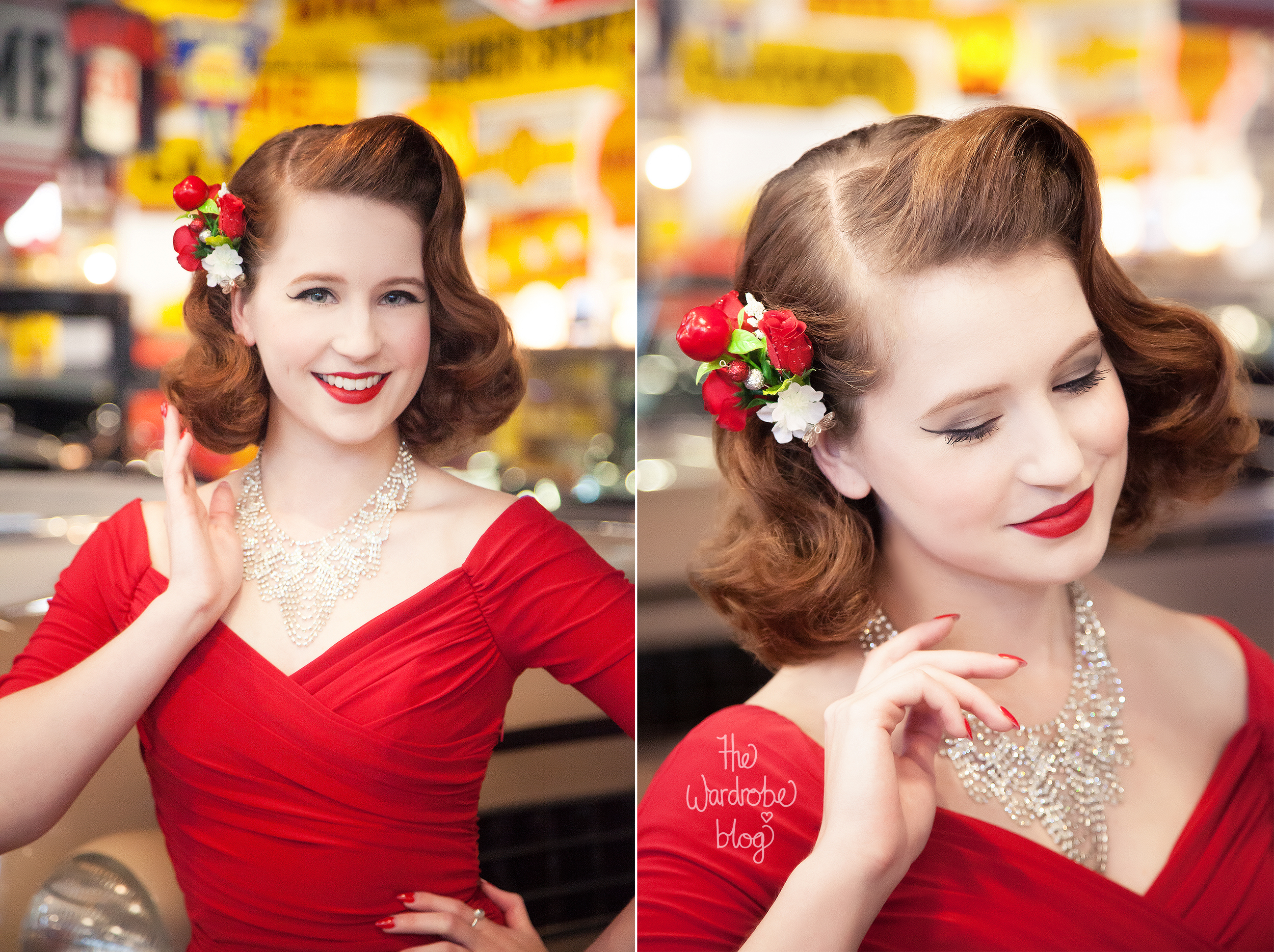 Miss Hero Holliday wears the Pinup Girl Clothing Wiggle Dress in red, vintage necklace and hair piece by  Shop the Wardrobe, available for purchase here.