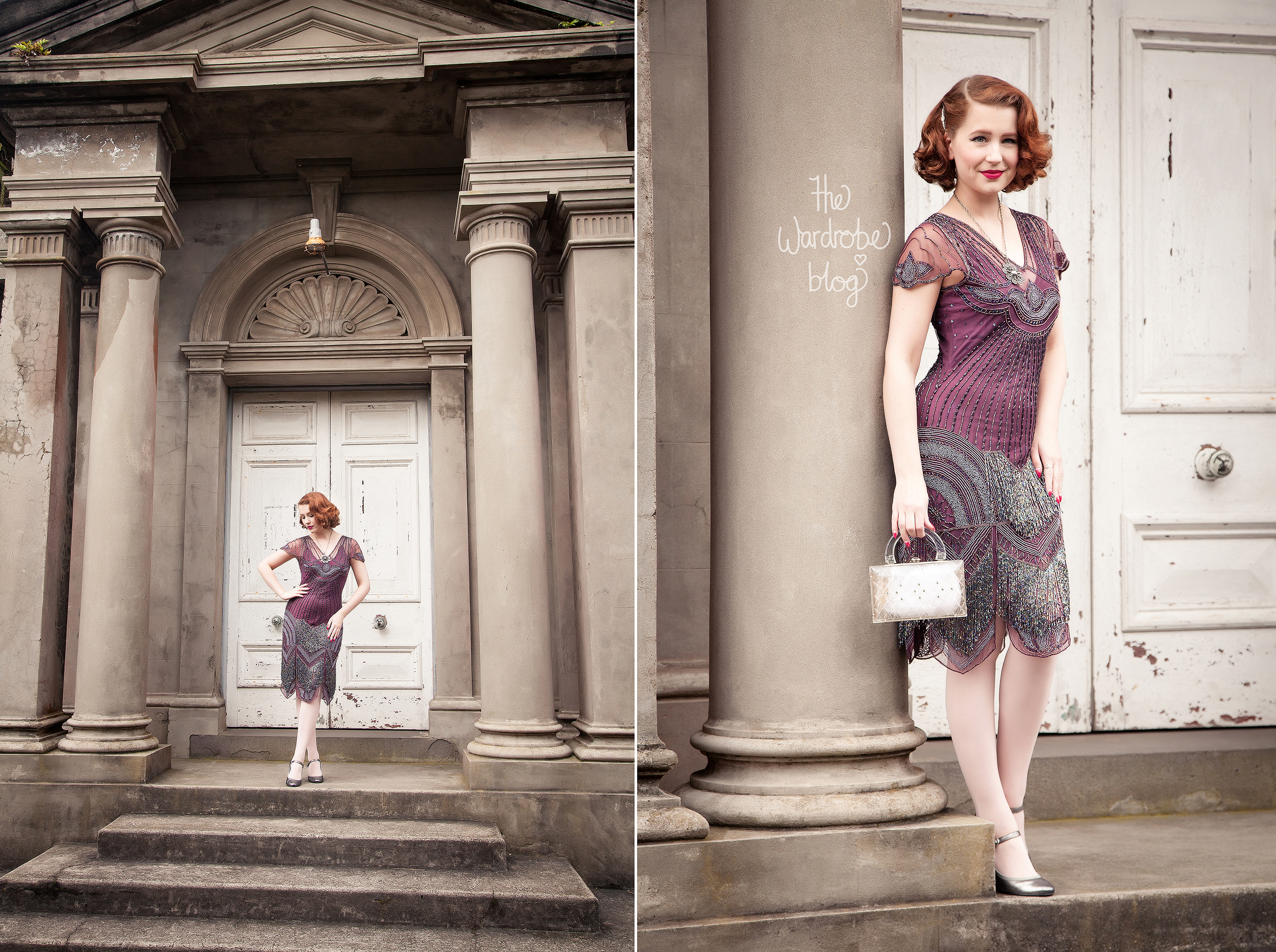 Miss Hero Holliday wears the Gatsbylady London Beatrice Dress and vintage bag.  Read more on her blog post review here.