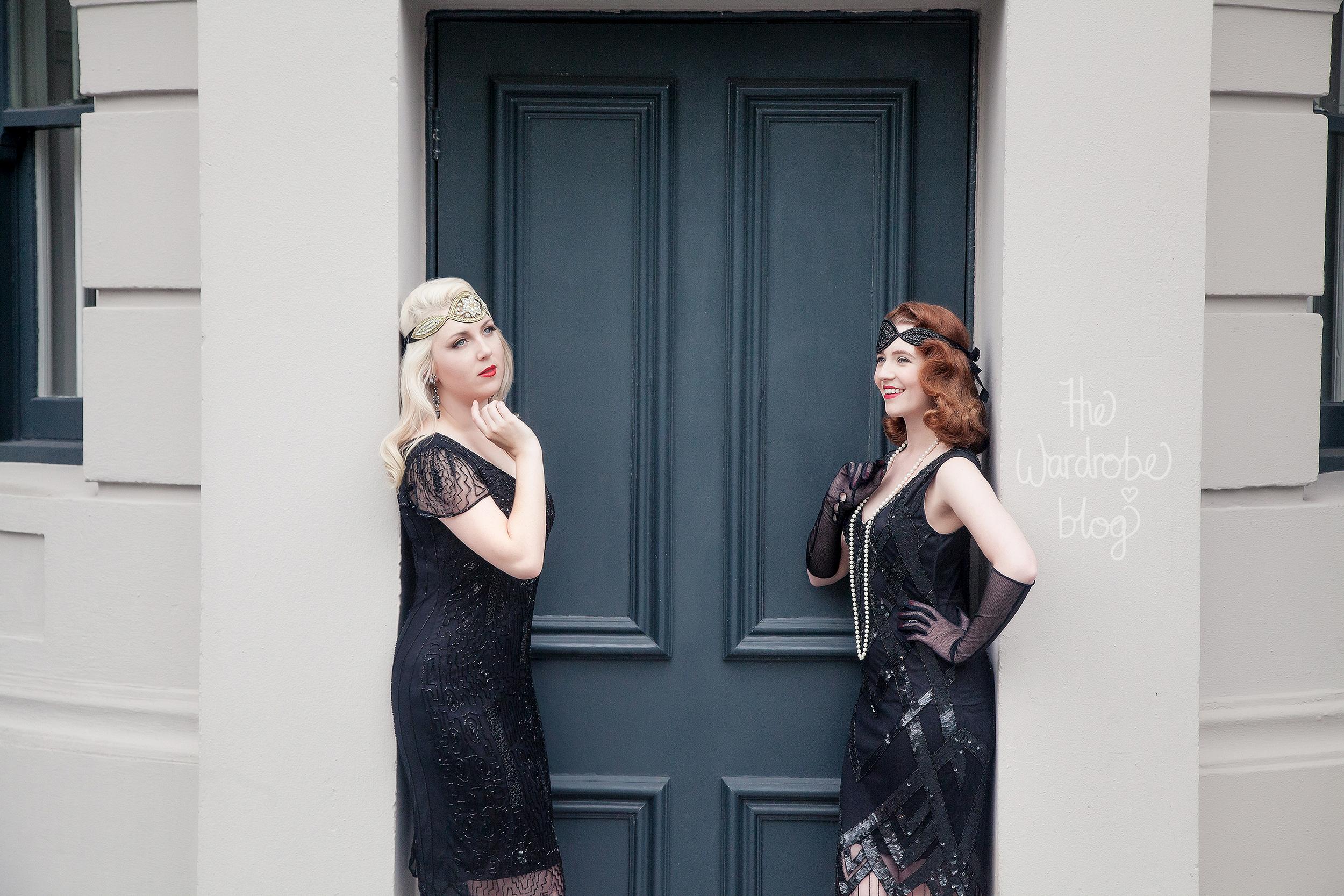 I wear: Downton Abbey Vintage Inspired Flapper Dress in Black, with the Amelia Vintage headband. Earrings + Bracelet from Lovisa.// Miss HH wears:Glitz Vintage Inspired Fringe Dress in Black, and the Julia Vintage headband.