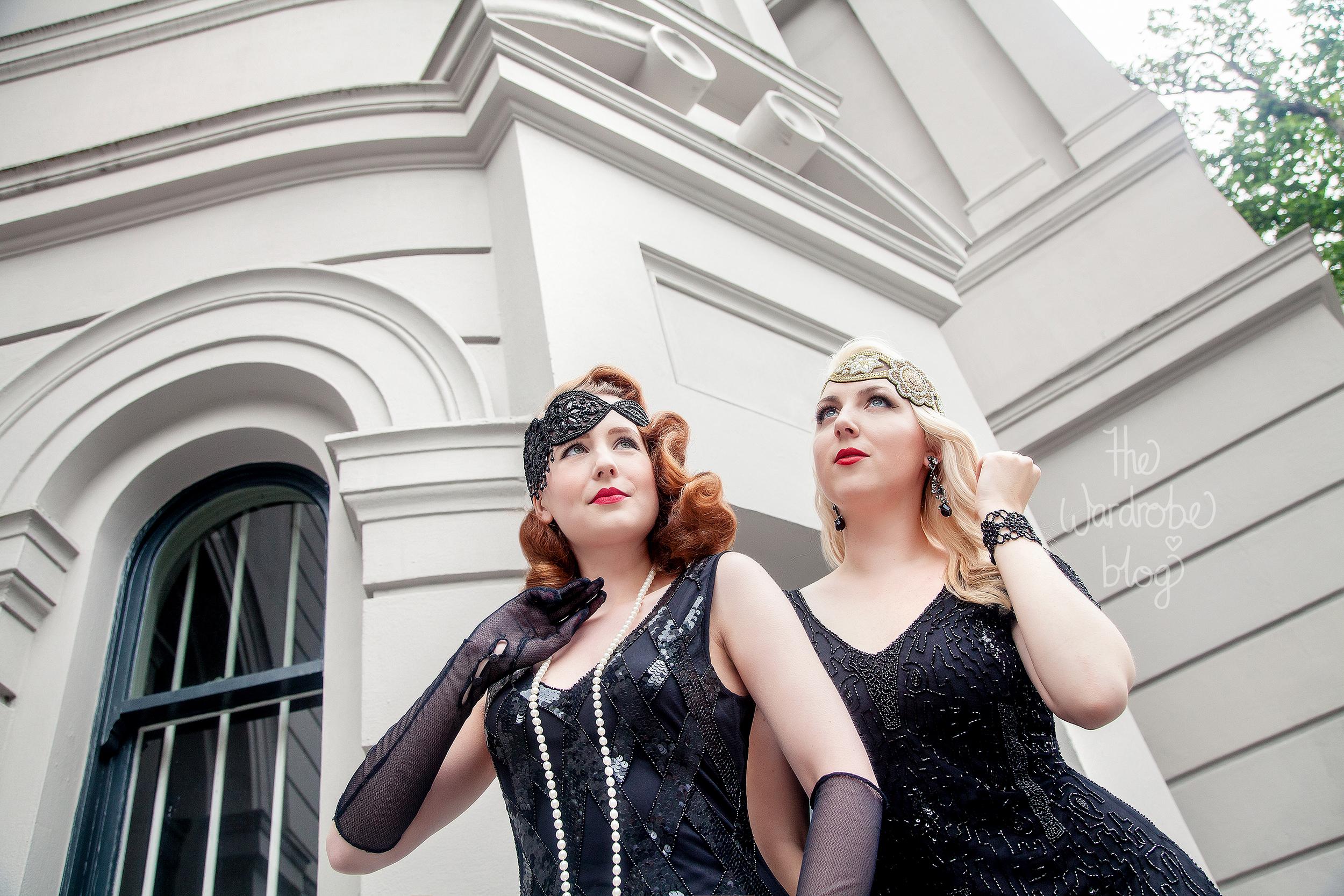 I wear: Downton Abbey Vintage Inspired Flapper Dress in Black, with the Amelia Vintage headband. Earrings + Bracelet from Lovisa. // Miss HH wears:Glitz Vintage Inspired Fringe Dress in Black, and the Julia Vintage headband.