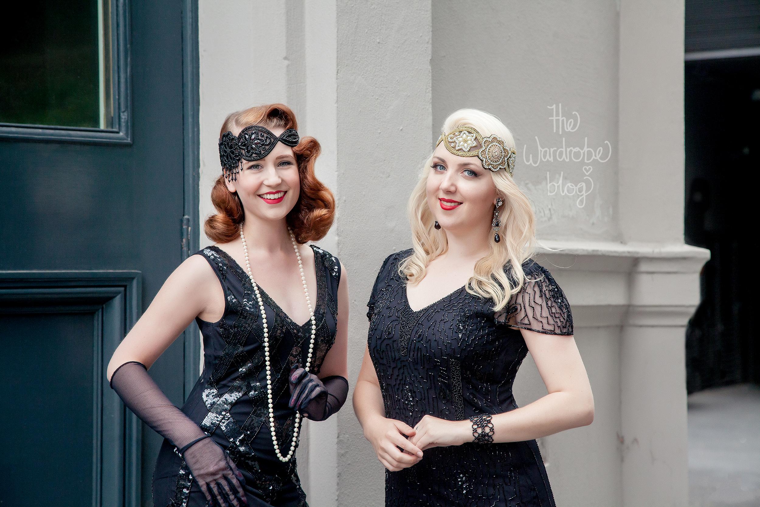 I wear: Downton Abbey Vintage Inspired Flapper Dress in Black, with the Amelia Vintage headband. Earrings + Bracelet from Lovisa + Shoes from Mi Piaci.// Miss HH wears:Glitz Vintage Inspired Fringe Dress in Black, and the Julia Vintage headband.