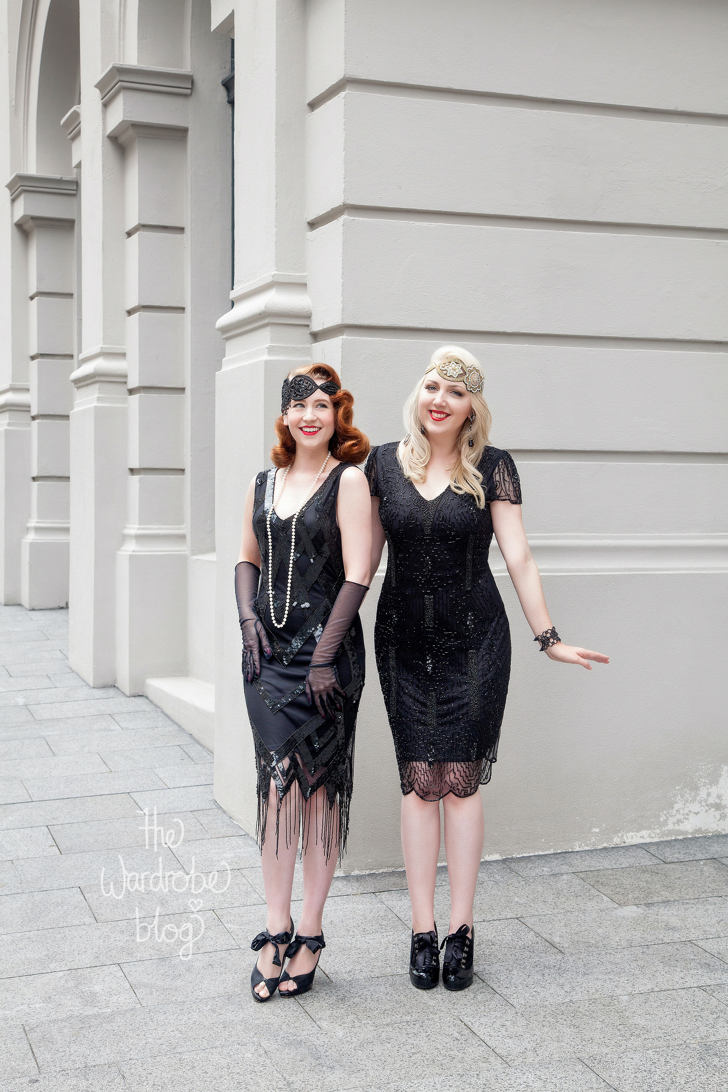 I wear: Downton Abbey Vintage Inspired Flapper Dress in Black, with the Amelia Vintage headband. Earrings + Bracelet from Lovisa + Shoes from Mi Piaci. // Miss HH wears: Glitz Vintage Inspired Fringe Dress in Black, and the Julia Vintage headband.
