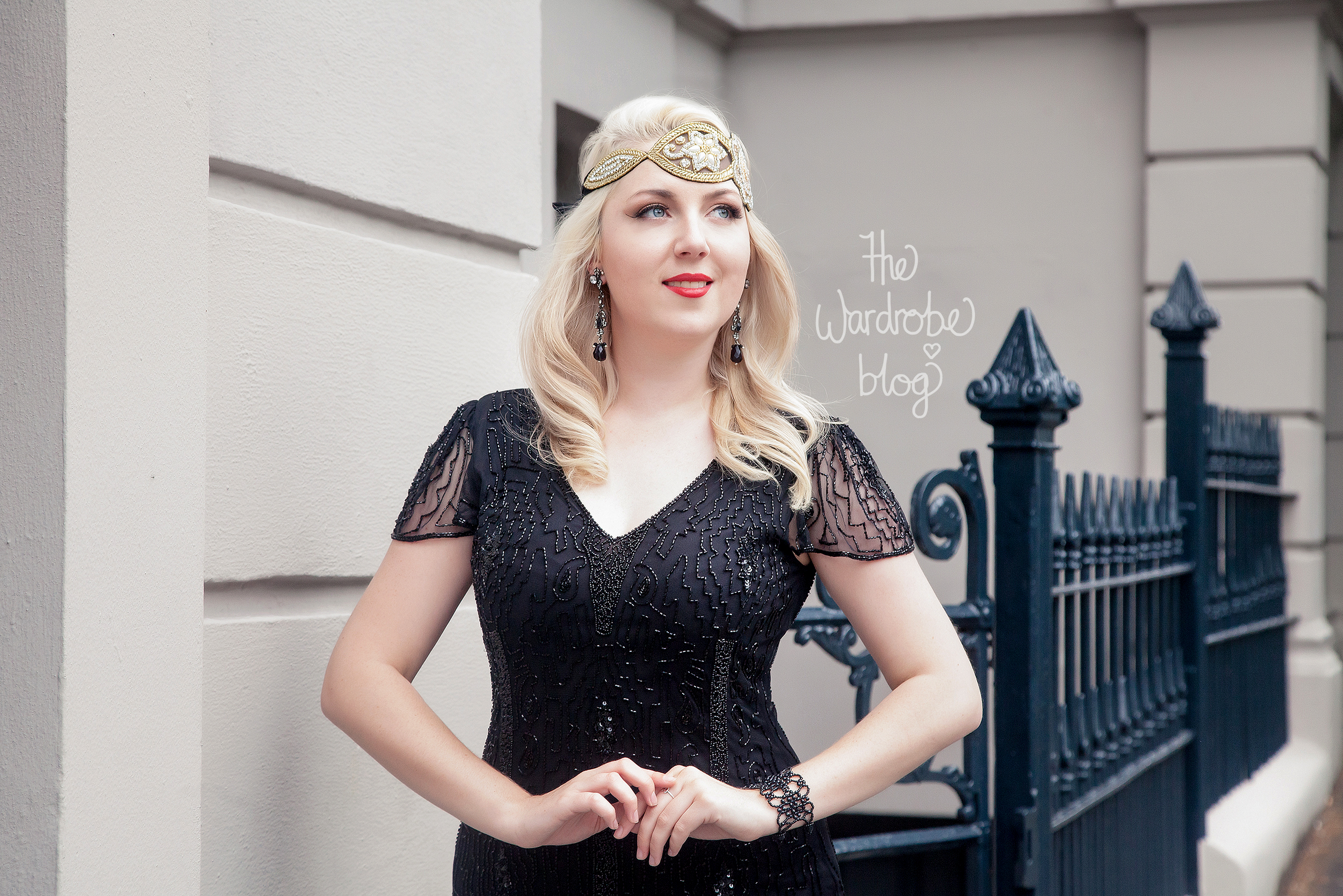 Downton Abbey Vintage Inspired Flapper Dress in Black, with the Amelia Vintage headband. Earrings + Bracelet from Lovisa .