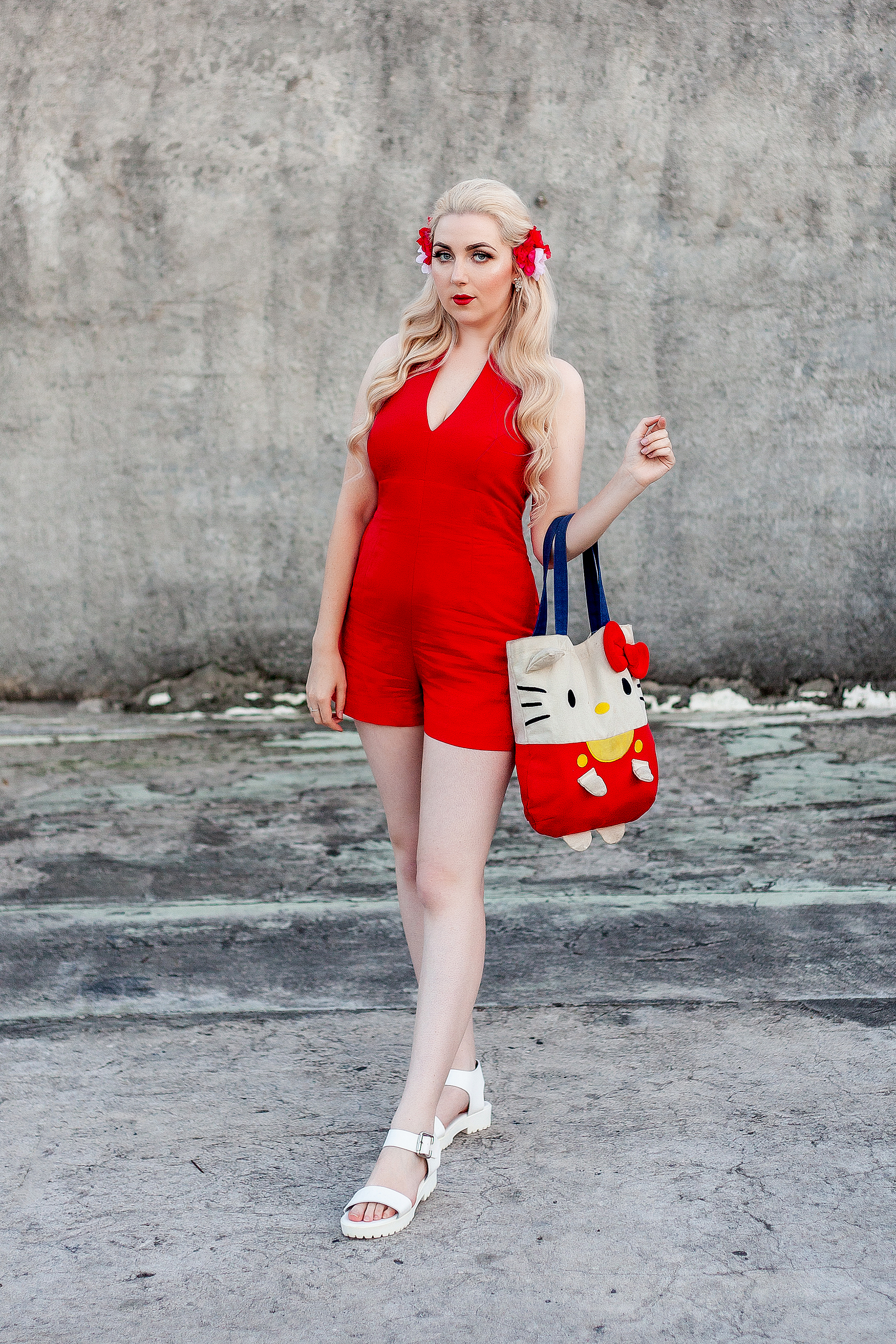 Forever-New-Playsuit-Linen-Red