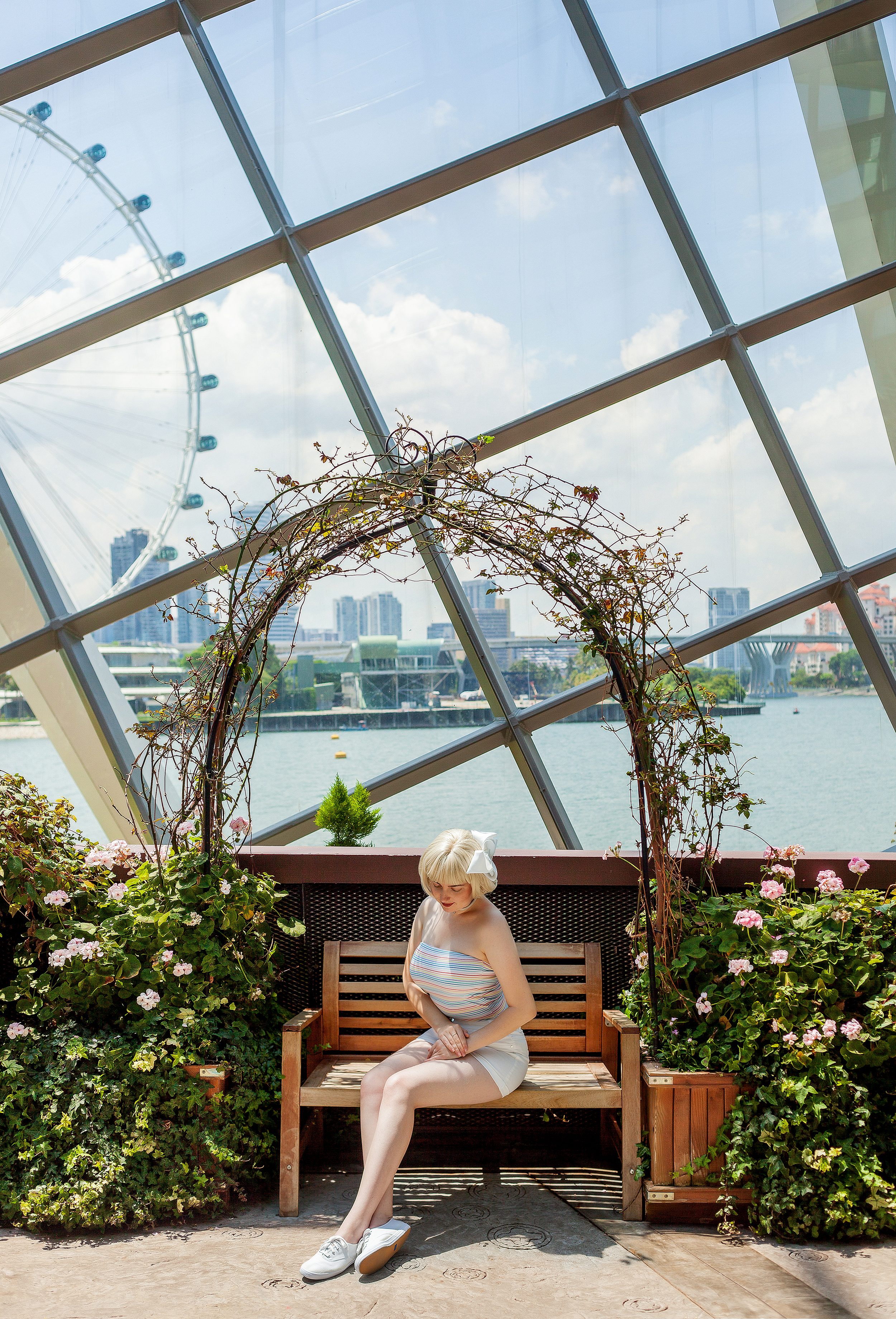 Gardens by the Bay, the Flower Dome. Singapore. Wearing top from Factorie, Bow from Lovisa, Choker from Veronica B, Shoes from Hannahs, and Shorts from Jay Jays.