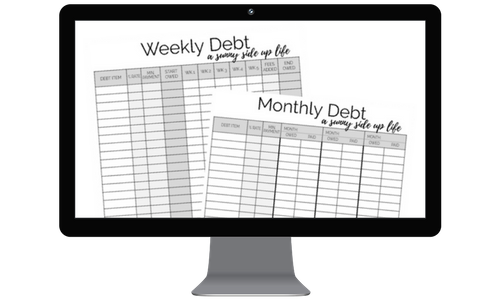 This is a quick preview of what those Free Worksheets that are going to help you add up + organize all of your debt!
