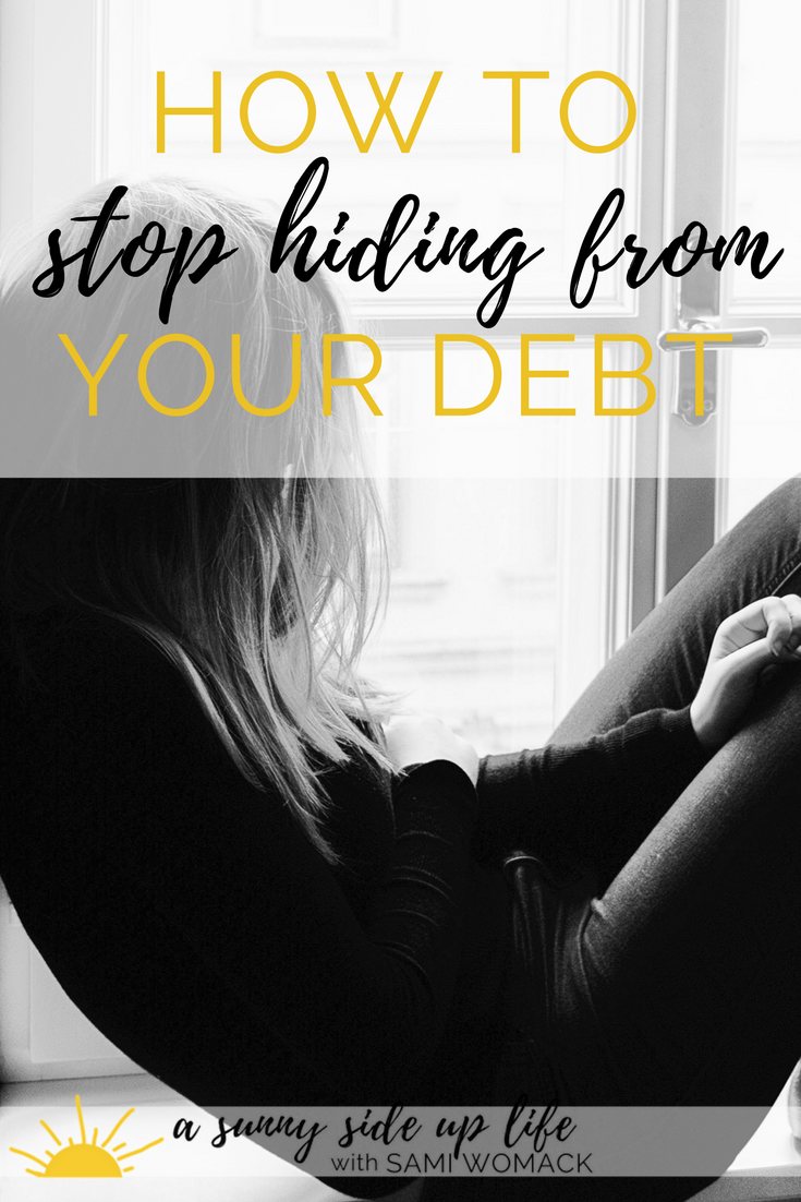 Awesome article on how to stop hiding from your debt. 2 quick steps. 2 Free debt payoff worksheets.  freebie | debt | budgeting | budget | family budget | free budgeting worksheets | baby step 2 | dave ramsey | gazelle intense | how to start a budget | how to pay off debt | debt free | motherhood | overwhelmed| stress | where to start with budgeting | where to start with becoming debt free | credit card debt | student loan debt | mortgage | house | home