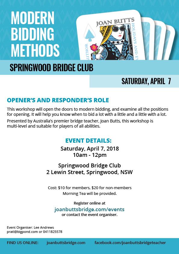 Modern Bidding Methods — Joan Butts Bridge