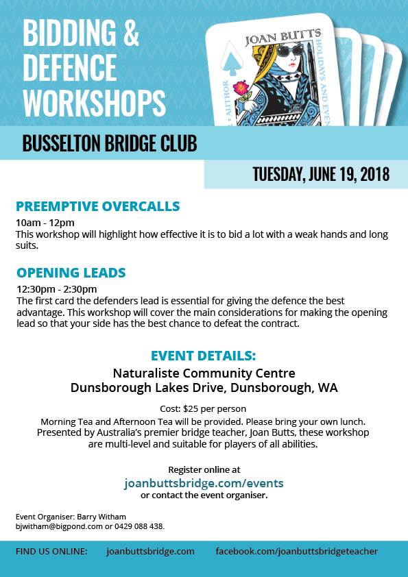 Bidding and Defence Workshops at Busselton Bridge Club