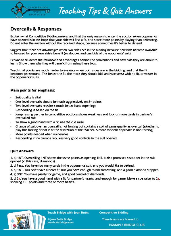 Competitive Bidding Teacher Resource Pack — Joan Butts Bridge