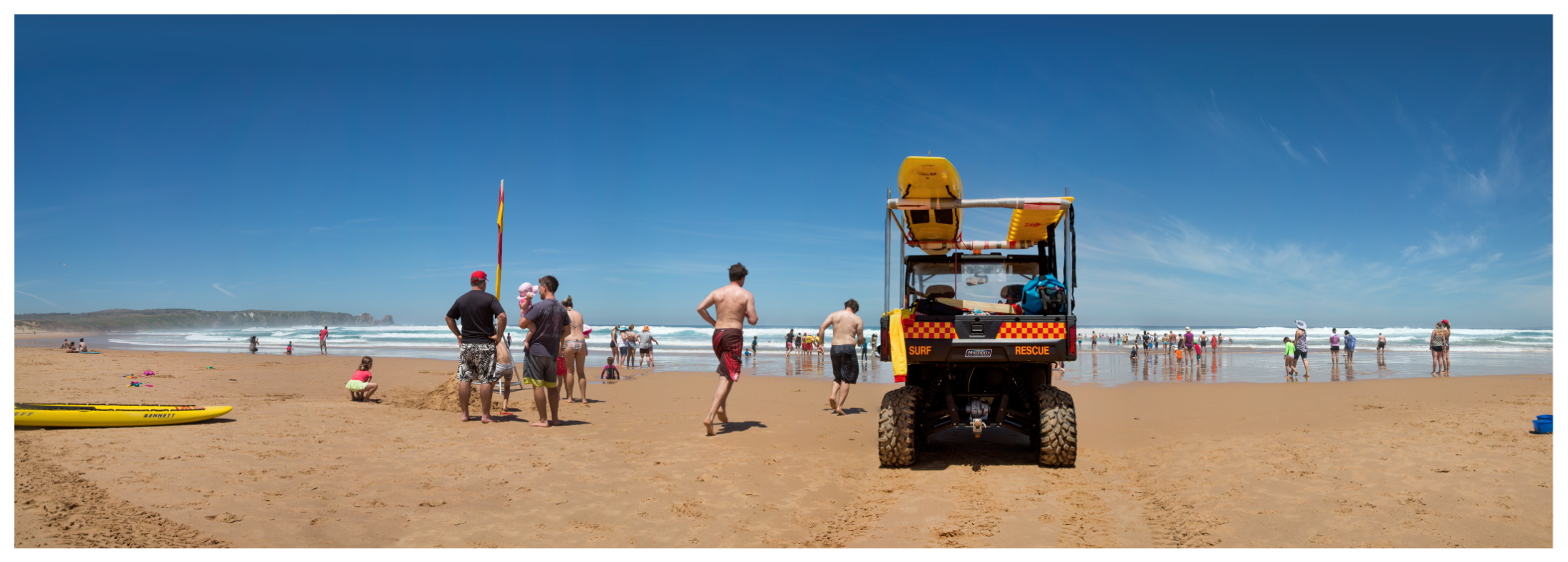 Surf Rescue with runners - Woolamai Beach, Phillip Island, Victoria