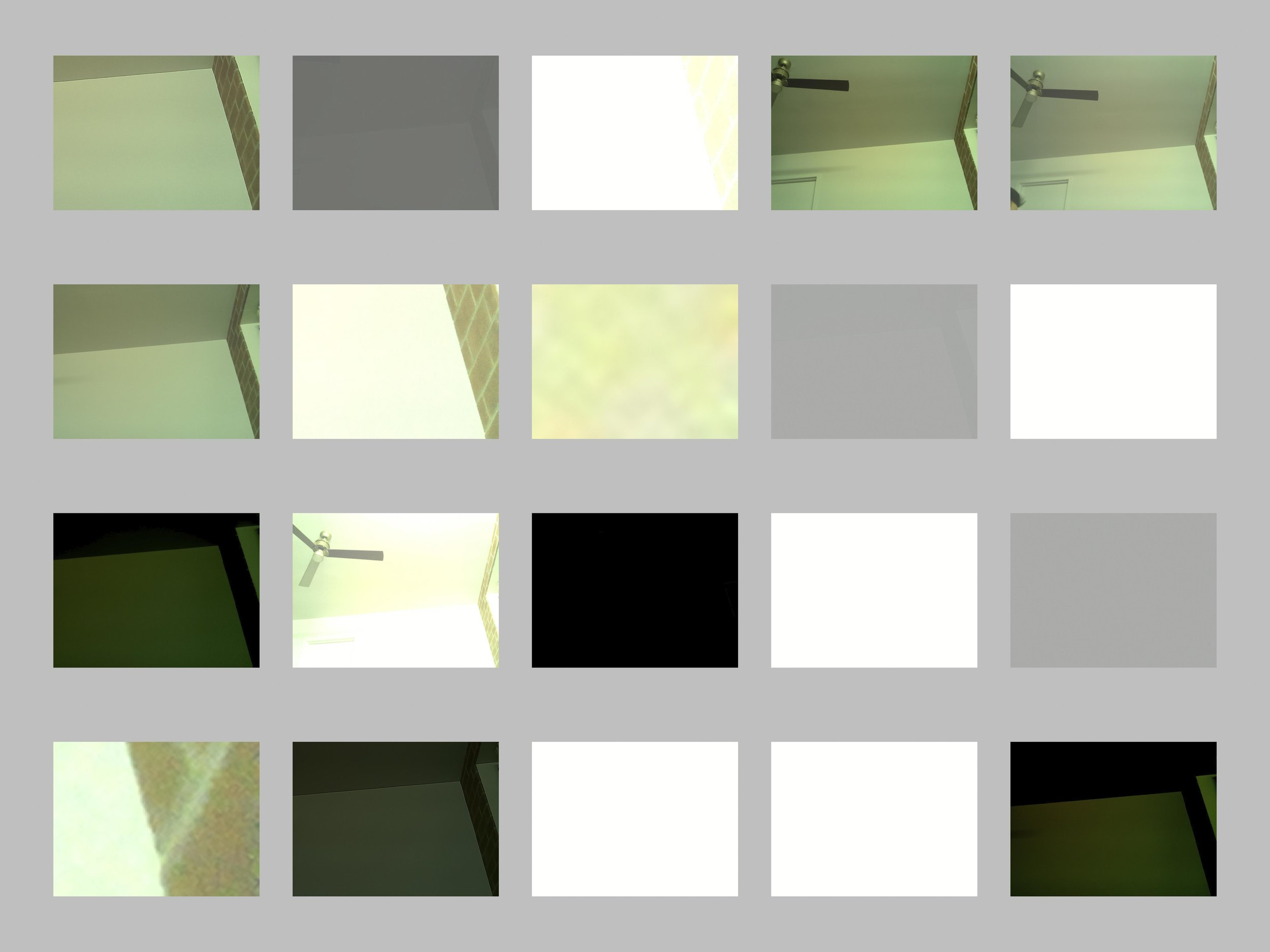 At Home, Test No.1, 5x4 Grids, No.0-No.19 / Photos from a self-programed camera, Adobe Bridge default layout with 4:3 ratio, digital printing