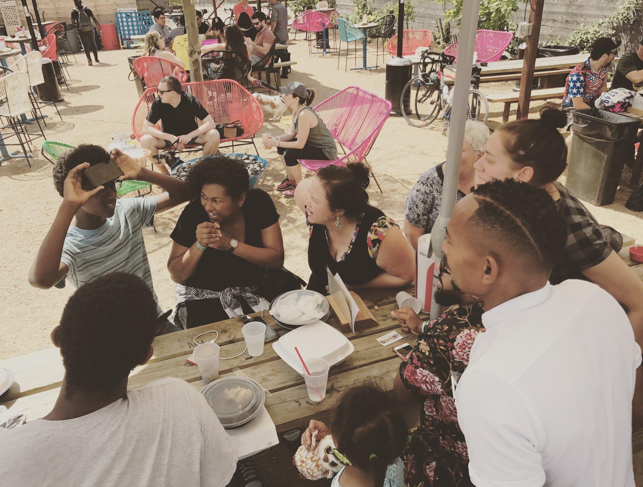 Joy at a Picnic Table