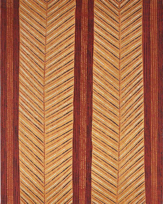 Kayimwagakimi Jilamara  by Raelene Kerinauia || Ochres on linen || 70 x 90cm || AU$2,000 available for acquisition and currently on exhibition @chrisjoycuration . . #tiwiart  #firstnationsart #australianindigenousart #aboriginalart