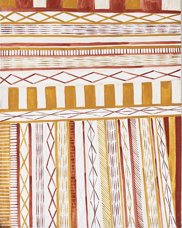 Pwoja - Pukumani body paint design by Pedro Wonaeamirri || natural ochres on linen || 90 x 70cm || AU$3,500 available for acquisition and currently on exhibition @chrisjoycuration . . #tiwiart #firstnationsart #pedrowonaeamirri #australianindigenousart #aboriginalart