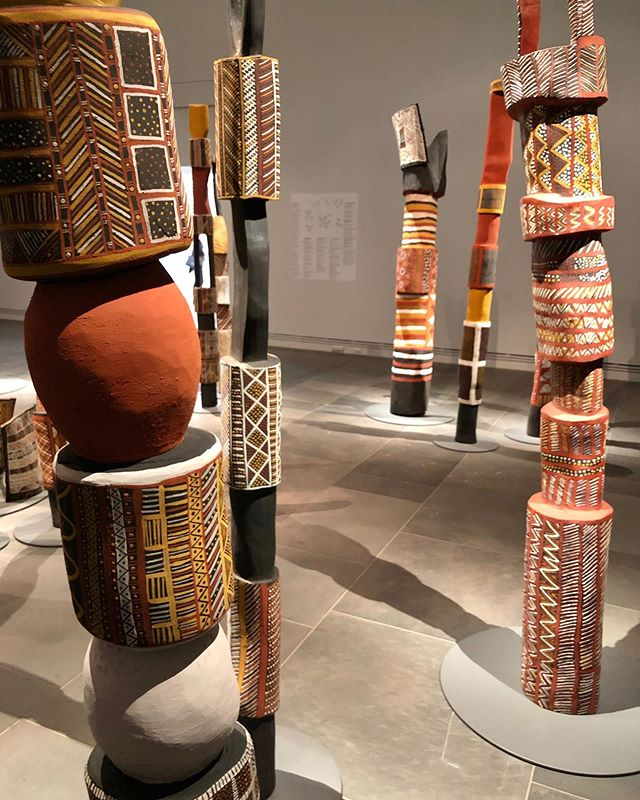 Parlika Tutini Jilamara - more beautiful  Tutuni burial poles and sculpture associated with mortuary ceremony of the Tiwi People adorned with Jilamara (design) pertaining to appartenance and key aspects of Tiwi culture currently showing in Tarnanthi, Art Gallery of South Australia. Various artists, including James Orsto, Timothy Cook, Janice Murray and Pedro Wonaeamirri. You can see some of these artist's works on canvas at Hearth Galleries in collaboration with @chrisjoycuration in Healesville, Victoria who our showing our 'Living Tiwi' collection. . . #tarnanthi #tiwiart #firstnationsart #australianindigenousart #aboriginal-art #sculpture