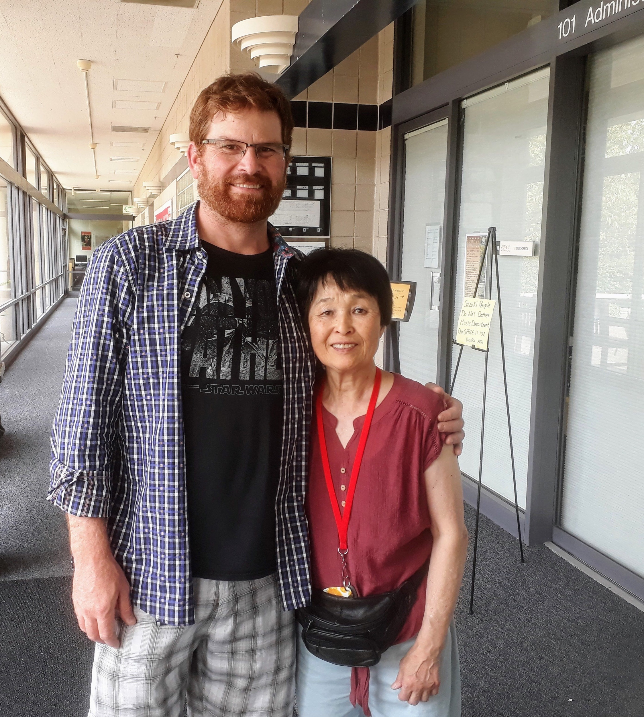 I saw Yoko at the Stanford Suzuki Workshop! (When my son's college tour ended outside the music building where I used to attend and later coach)