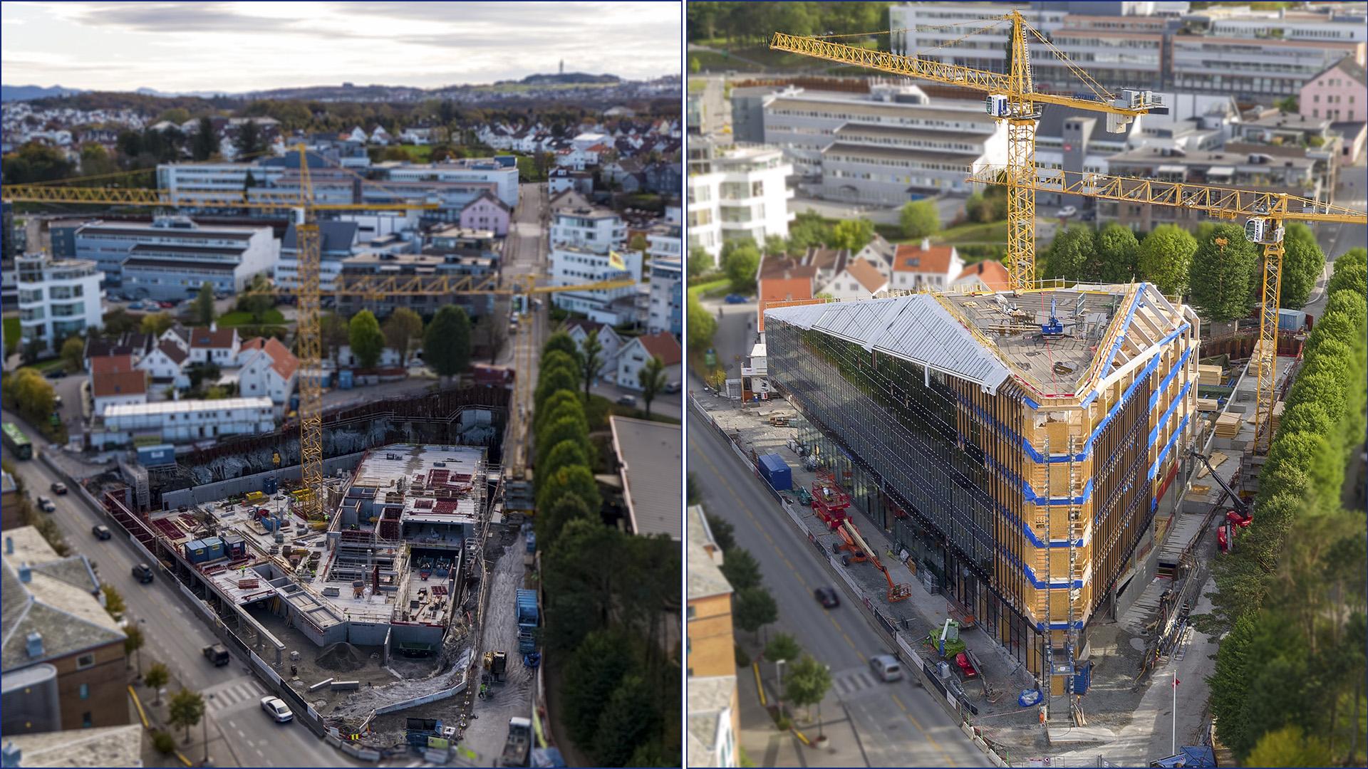 Bildene er tatt tirsdag 7. august 2018 (til høyre) og 27. oktober 2017 (til venstre). Foto: Aeroview/3D4D.no