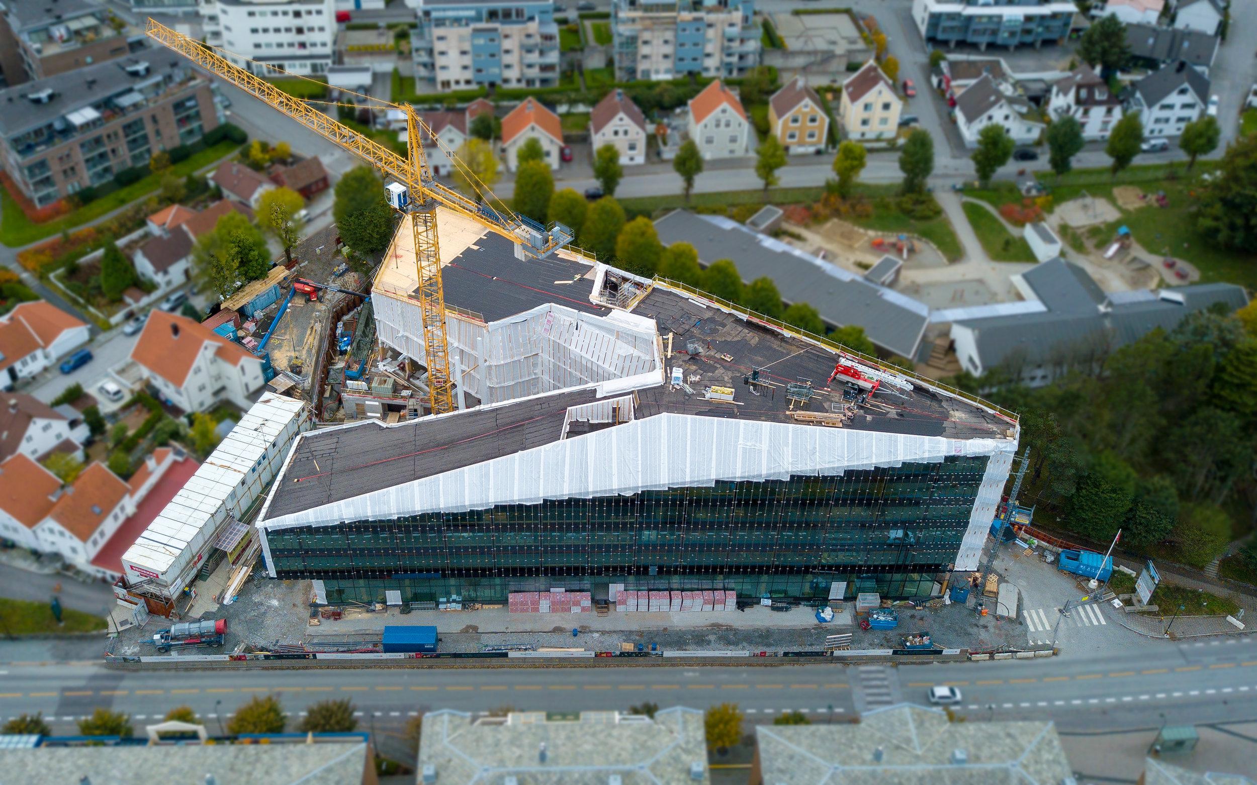 FINANSPARKEN: Slik ser bygget ut i oktober 2018. Foto: 3D4D.no