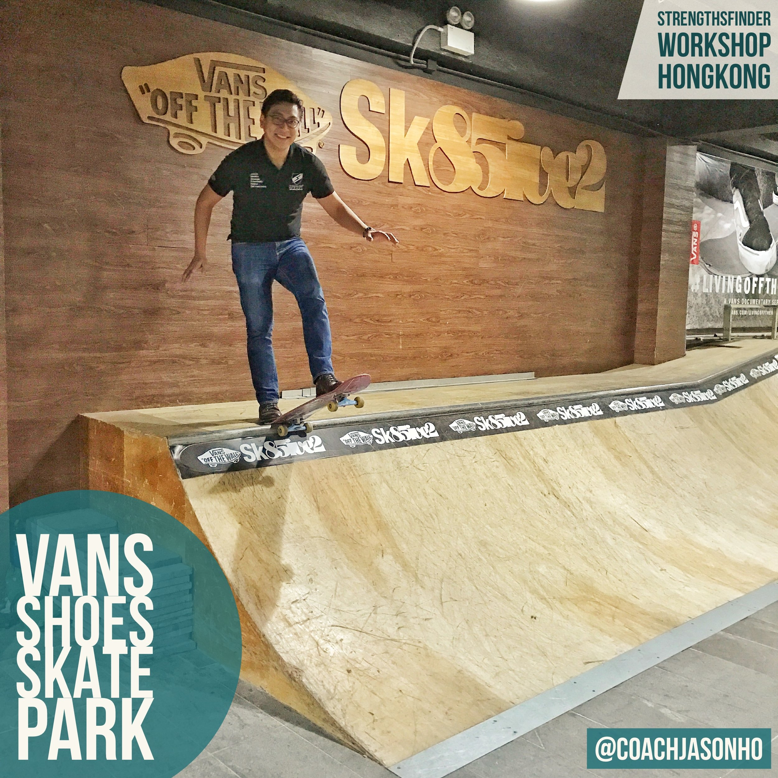 Perks of doing a StrengthsFinder workshop for VANS in their indoor SkatePark HongKong! Heading back to Singapore now